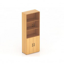 Шкаф высокий Канц, закрытый, со стеклом, 4 двери, 700*350*1830, бук невский