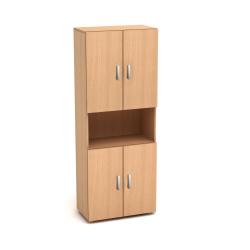 Шкаф высокий Канц, 1 открытая полка, 4 двери, 700*350*1830, бук невский
