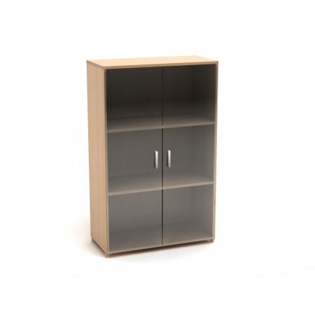 Шкаф средний Канц, закрытый, со стеклом, 2 двери, 700*350*1130, бук невский