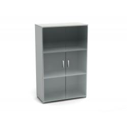 Шкаф средний Канц, закрытый, со стеклом, 2 двери, 700*350*1130, пепел