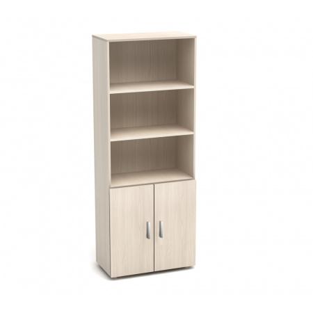 Шкаф высокий Канц, 3 открытые полки, 2 двери, 700*350*1830, дуб молочный