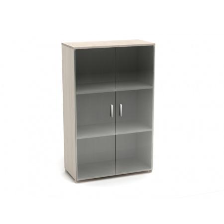 Шкаф средний Канц, закрытый, со стеклом, 2 двери, 700*350*1130, дуб молочный
