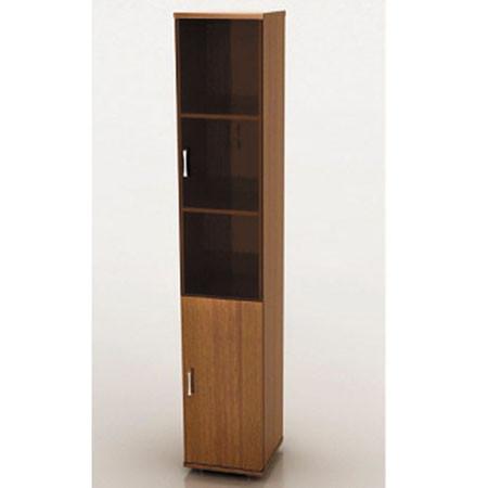 Шкаф высокий Монолит, узкий, закрытый, со стеклом тонированным, 2 двери, 374*390*2046, орех гварнери