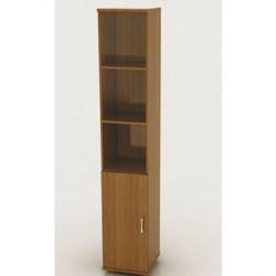 Шкаф высокий Монолит, узкий, 3 открытые полки, 1 дверь, КМ45+ДМ41, 374*390*2046, орех гварнери