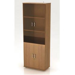 Шкаф высокий Монолит, закрытый, со стеклом тонированным, 4 двери, 744*390*2046, орех гварнери
