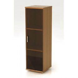 Шкаф средний Монолит, узкий, закрытый, со стеклом тонированным, 1 дверь, 374*390*1252, орех гварнери