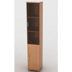 Шкаф высокий Монолит, узкий, закрытый, со стеклом тонированным, 2 двери, 374*370*2046, бук бавария
