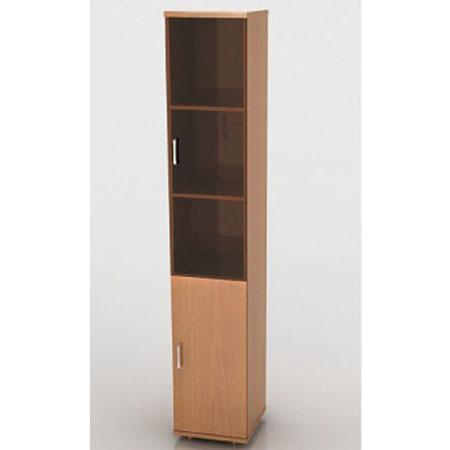 Шкаф высокий Монолит, узкий, со стеклом тонированным, 2 двери, 374*370*2046, бук бавария