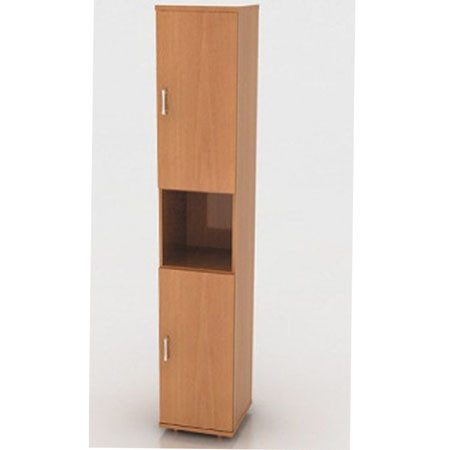 Шкаф высокий Монолит, узкий, 1 открытая полка, 2 двери, 374*370*2046, бук бавария