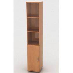 Шкаф высокий Монолит, узкий, 3 открытые полки, 1 дверь, 374*370*2046, бук бавария