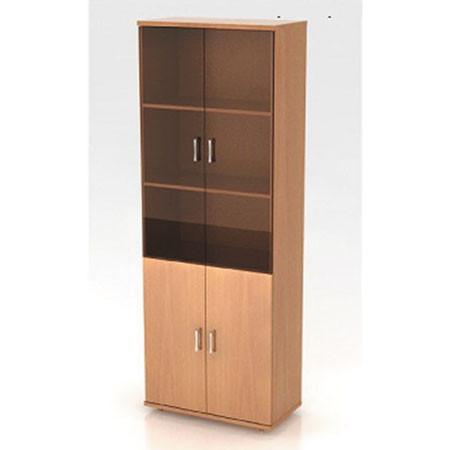 Шкаф высокий Монолит, закрытый, со стеклом тонированным, 4 двери, 744*390*2046, бук бавария
