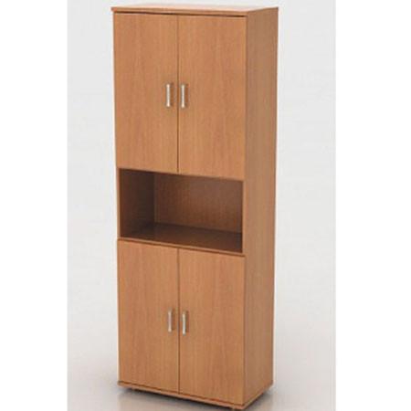 Шкаф высокий Монолит, 1 открытая полка, 4 двери, 744*390*2046, бук бавария