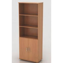 Шкаф высокий Монолит, 3 открытые полки, 2 двери, 744*390*2046, бук бавария