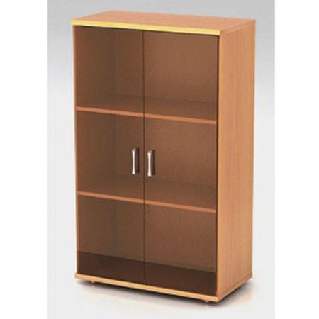 Шкаф средний Монолит, закрытый, со стеклом тонированным, 2 двери, 744*390*1252, бук бавария