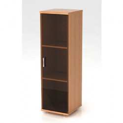 Шкаф средний Монолит, узкий, закрытый, со стеклом тонированным, 1 дверь, 374*390*1252, бук бавария