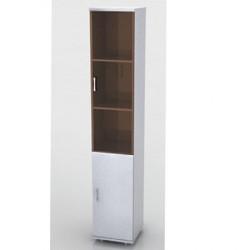 Шкаф высокий Монолит, узкий, закрытый, со стеклом тонированным, 2 двери, 374*390*2046, серый