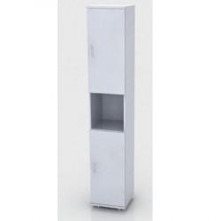 Шкаф высокий Монолит, узкий, 1 открытая полка, 2 двери, 374*390*2046, серый