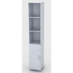 Шкаф высокий Монолит, узкий, 3 открытые полки, 1 дверь, 374*390*2046, серый
