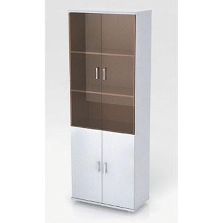 Шкаф высокий Монолит, закрытый, со стеклом тонированным, 4 двери, 744*390*2046, серый