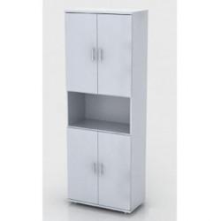 Шкаф высокий Монолит, 1 открытая полка, 4 двери, 744*390*2046, серый