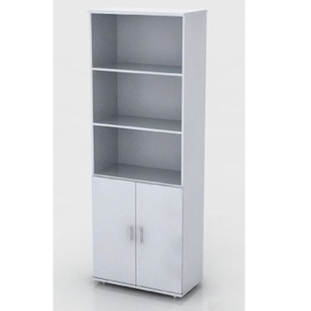 Шкаф высокий Монолит, 3 открытые полки, 2 двери, 744*390*2046, серый