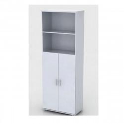 Шкаф высокий Монолит, 2 открытые полки, 2 двери, 744*390*2046, серый