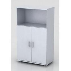Шкаф средний Монолит, 1 открытая полка, 2 двери, 744*390*1252, серый