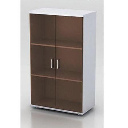 Шкаф средний Монолит, закрытый, со стеклом тонированным, 2 двери, 744*390*1252, серый