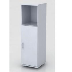 Шкаф средний Монолит, узкий, 1 открытая полка, 1 дверь, 374*390*1252, серый