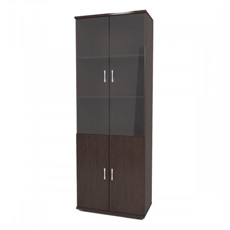 Шкаф высокий Монолит, закрытый, со стеклом тонированным, 4 двери, 744*390*2046, венге