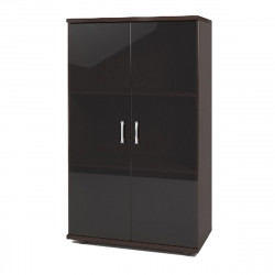 Шкаф средний Монолит, закрытый, со стеклом тонированным, 2 двери, 744*390*1252, венге