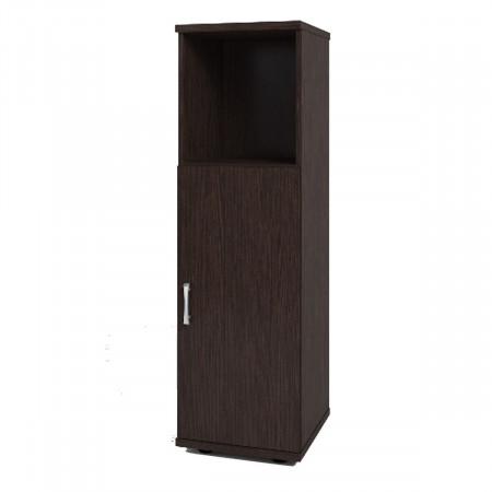Шкаф средний Монолит, узкий, 1 открытая полка, 1 дверь, 374*390*1252, венге