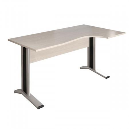 Стол эргономичный Монолит КМ62.15, правый, на металлокаркасе, 1404*904(704)*756, дуб молочный, СМ11.15+ОМ02