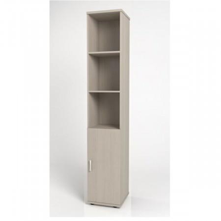 Шкаф высокий Монолит, узкий, 3 открытые полки, 1 дверь, 374*390*2046, дуб молочный