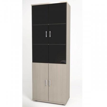 Шкаф высокий Монолит, закрытый, со стеклом тонированным, 4 двери, 744*390*2046, дуб молочный