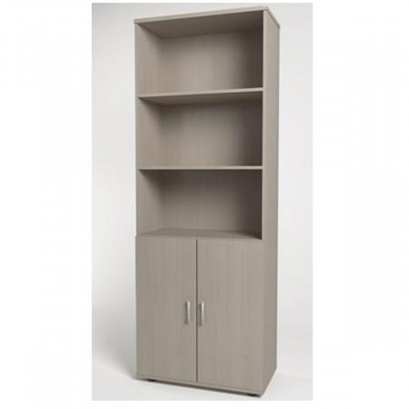 Шкаф высокий Монолит, 3 открытые полки, 2 двери, 744*390*2046, дуб молочный