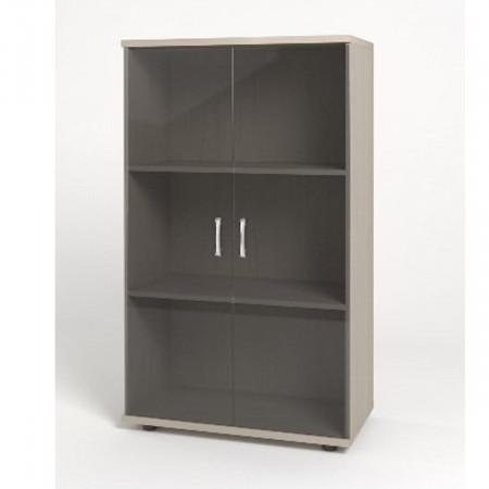 Шкаф средний Монолит, закрытый, со стеклом тонированным, 2 двери, 744*390*1252, дуб молочный