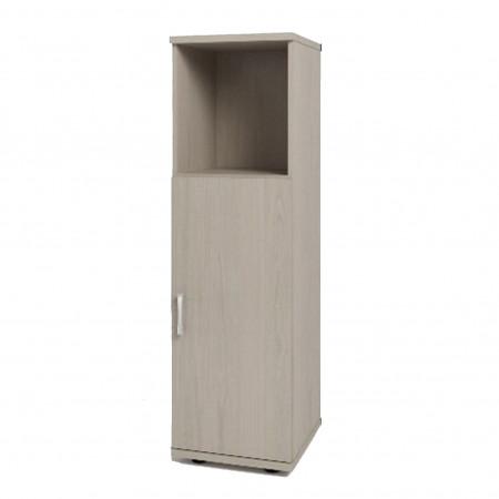 Шкаф средний Монолит, узкий, 1 открытая полка, 1 дверь, 374*390*1252, дуб молочный
