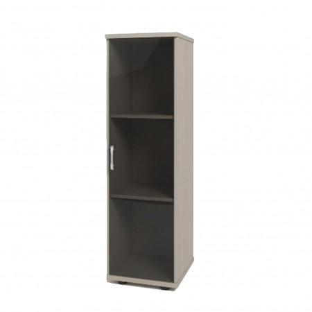 Шкаф средний Монолит, узкий, закрытый, со стеклом тонированным, 1 дверь, 374*390*1252, дуб молочный