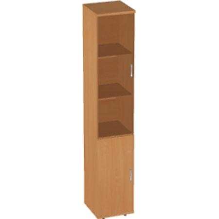 Шкаф высокий Авантаж, узкий, со стеклом, 2 двери, 428*378*1924, миланский орех