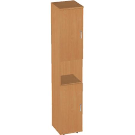 Шкаф высокий Авантаж, узкий, 1 открытая полка, 2 двери, 428*378*1924, миланский орех
