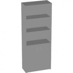 Шкаф высокий Арго А-310, 3 открытые полки, 2 двери, 77*37*200, серый