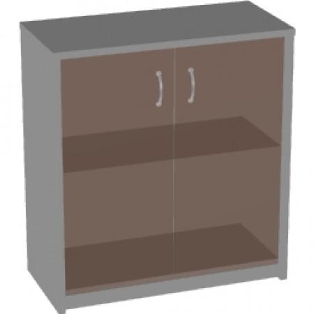 Шкаф низкий Арго, закрытый, со стеклом тонированным, 2 двери, 77*37*85, серый