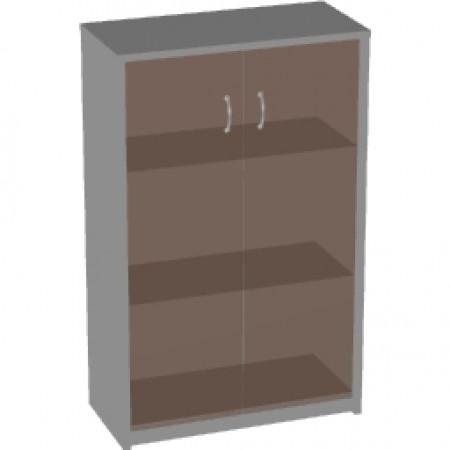 Шкаф средний Арго, закрытый, со стеклом тонированным, 2 двери, 77*37*122, серый