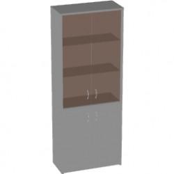 Шкаф высокий Арго, закрытый, со стеклом тонированным, 4 двери, 77*37*200, серый