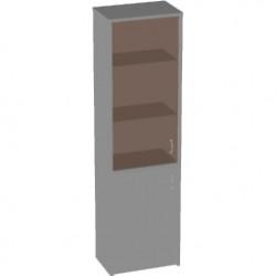 Шкаф высокий Арго,узкий, закрытый, со стеклом тонированным, 2 двери, 55*37*200, серый