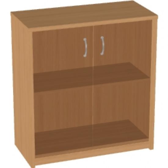 Шкаф низкий Арго, закрытый, со стеклом тонированным, 2 двери, 77*37*85, бук