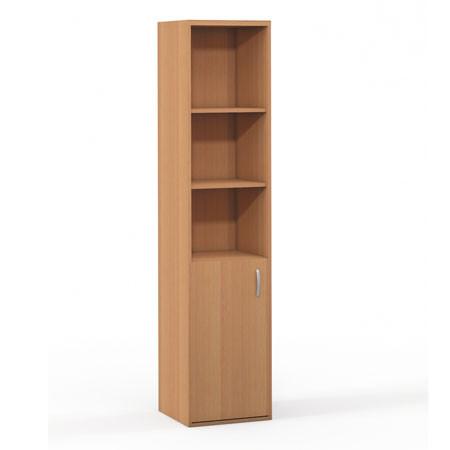 Шкаф высокий Формула 304ФР, узкий, 3 открытые полки, 1 дверь, 42*38*186, бук