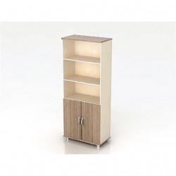 Шкаф высокий Модерн К4.19, 3 открытые полки, 2 двери, 850*440*2082, дуб шамони темный