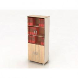 Шкаф высокий Модерн К8.18, закрытый, со стеклом, 4 двери, 850*440*2082, дуб шамони светлый